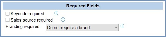 System Values - Sales - Order Display - Required Fields