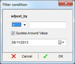 "The filter condition popup allows the user to query by date and condition for example ""<"", ""<="", "">"", etc. By default it is equals ""=""."