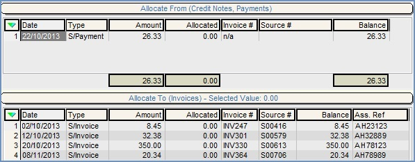 "The allocations grids appear on the right-hand side of the Customer/Supplier Statement tab. The upper ""Allocate From"" grid shows payments and credit notes, whilst the lower ""Allocate To"" grid shows invoices."