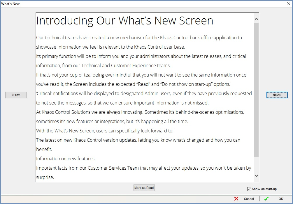 What's New Screen dialog