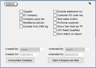 BaseOptions Area in the Customer General Tab