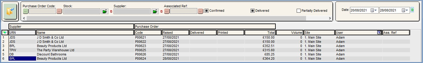 Purchase Order List Tab