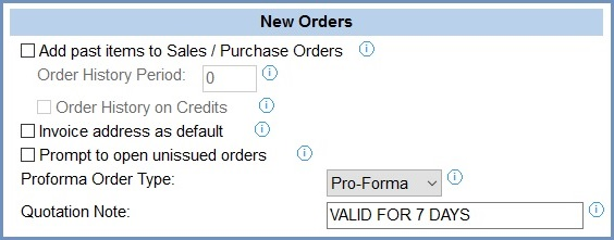 System Values - Sales - Order Display - New Orders