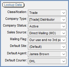 Lookup Data Area in the Customer General Tab