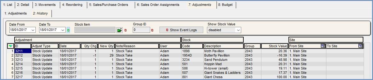 Stock Adjustments History Tab - Khaos Control Wiki